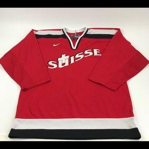 VTG Nike Suisse Hockey Jersey Men's Large Red